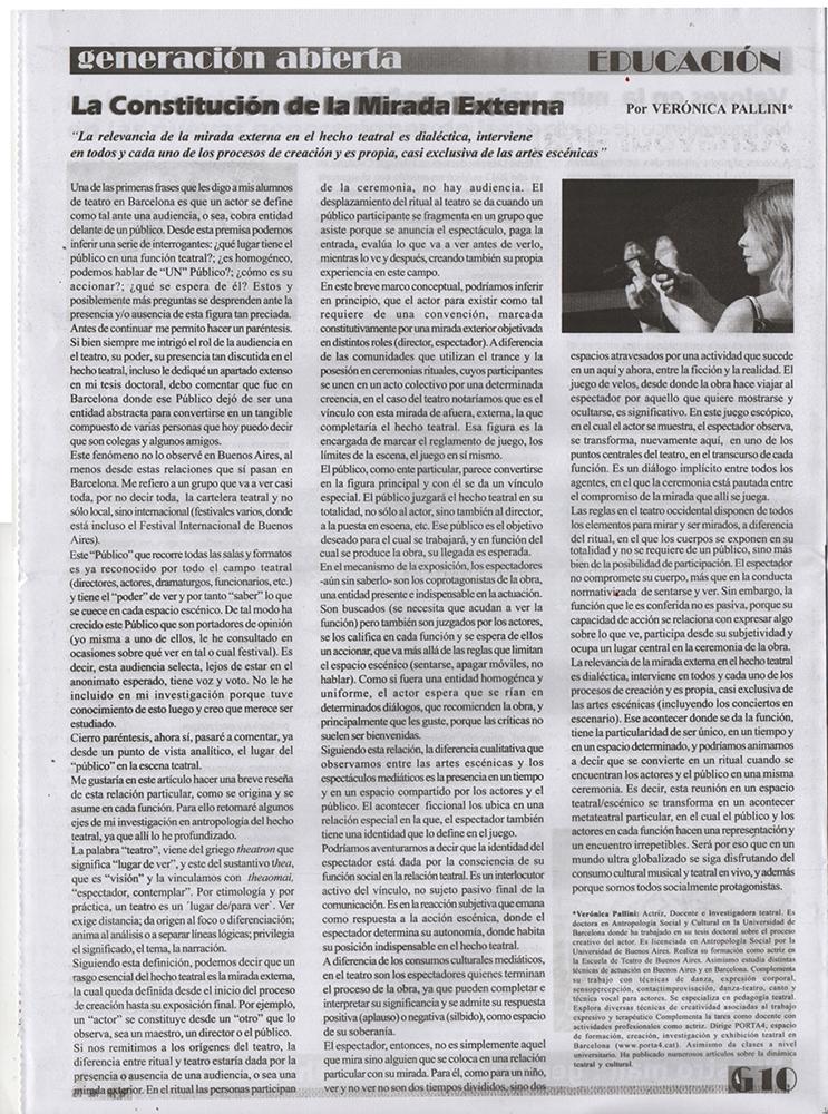 Article Generación Abierta per Verónica Pallini